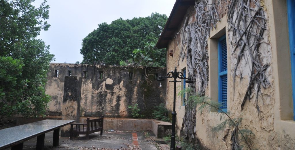Gli edifici a Prison Island